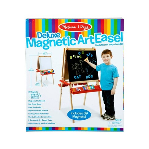 Melissa & Doug Deluxe Magnetic Standing Art Easel With Chalkboard, Dry-Erase Board, and 39 Letter and Number Magnets - image 1 of 4