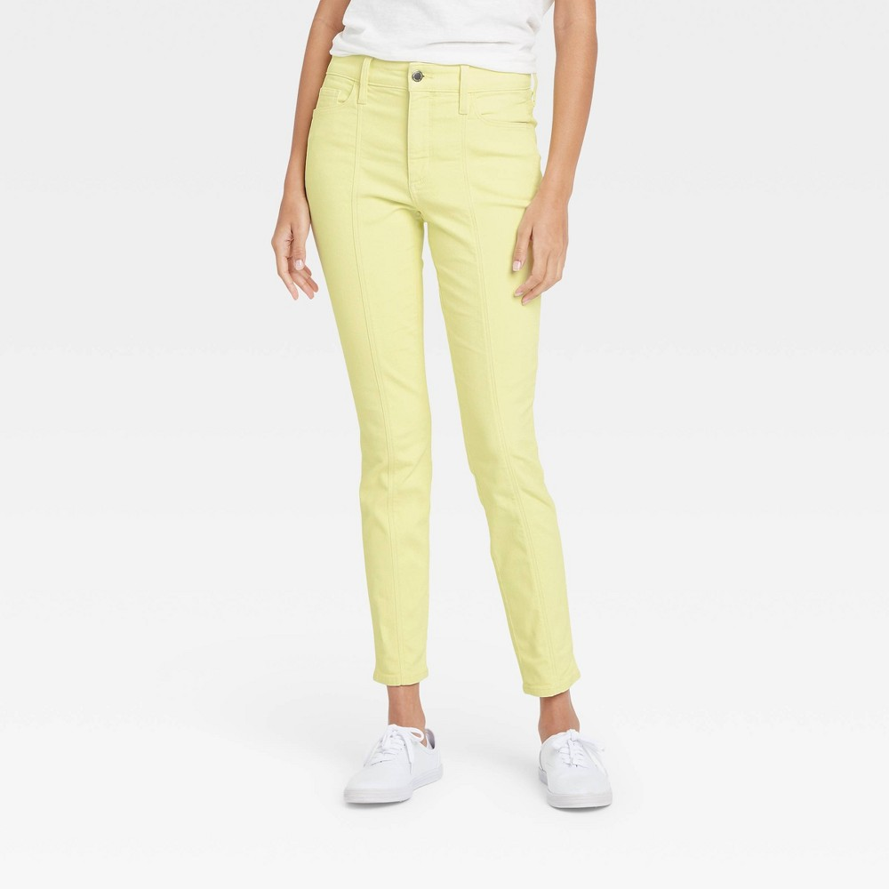 Women 39 S High Rise Skinny Stretch Ankle Jeans Universal Thread 8482 Yellow 14