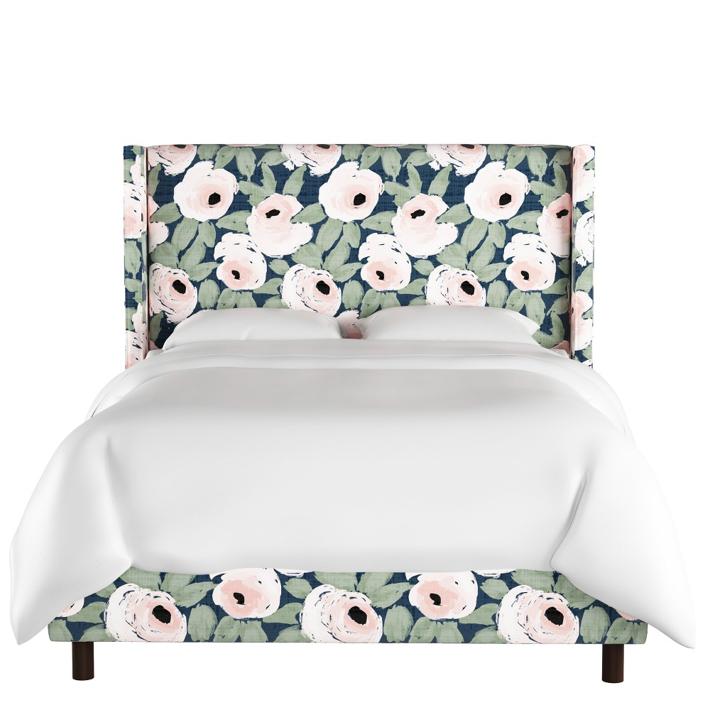 Sonny Wingback Bed - Queen - Bloomsbury Rose Blush Navy - Cloth & Co.