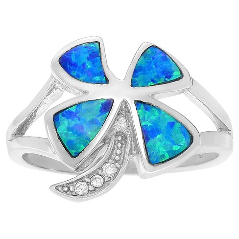 1/3 CT. T.W. Trillion-cut Simulated Opal CZ 4-Leaf Clover Inlaid Set Ring in Sterling Silver - Blue - image 1 of 2