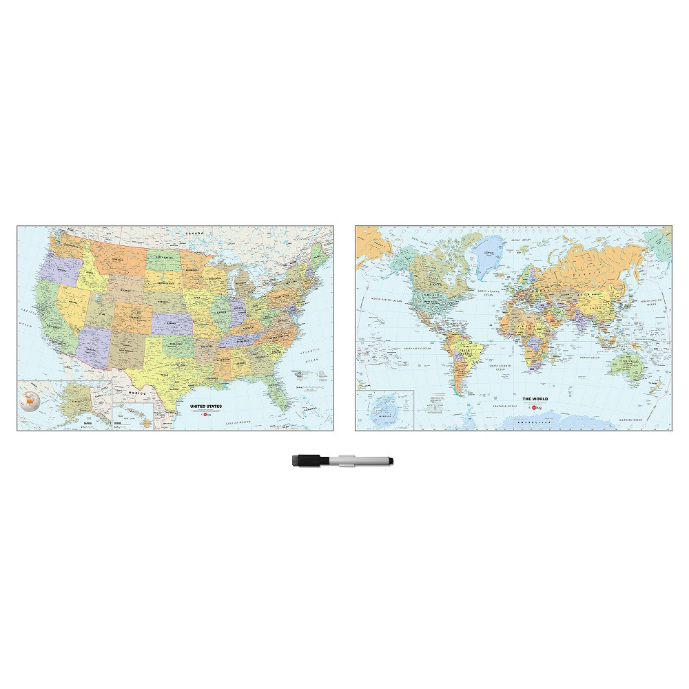 Image of Wall Pops! White Board Decals 2ct - World and US Maps, Multi-Colored