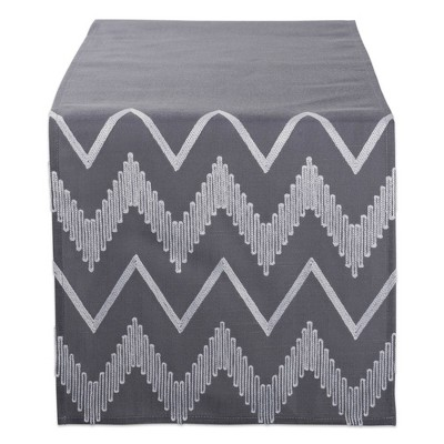 "70"" x 14"" Polyester Embroidered Chevron Table Runner Gray - Design Imports"
