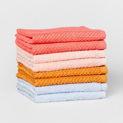 "8pc 12""x12"" Washcloth Set Melon - Pillowfort™"