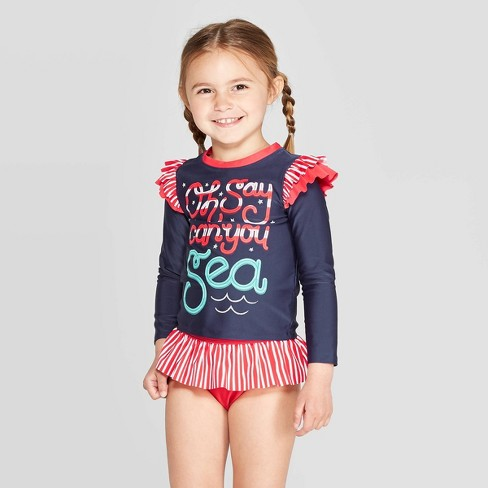 Toddler Girl' Long Sleeve 'Oh Say Can You Sea' Rash Guard Set - Cat & Jack™ Navy 3T - image 1 of 3
