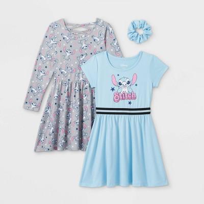 Girls' Disney Stitch 2pk Dress Set with Scrunchie