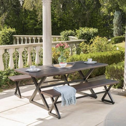 Rolando 3pc Aluminum Outdoor Patio Picnic Set - Brown - Christopher Knight Home - image 1 of 5
