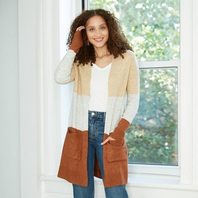 Women's Color Block Open-Front Cozy Cardigan - A New Day™ Cream/White/Brown M