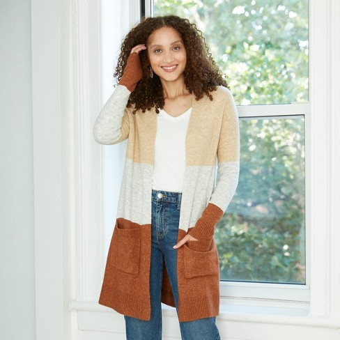 Women's Colorblock Open-Front Cozy Cardigan - A New Day™  - image 1 of 4
