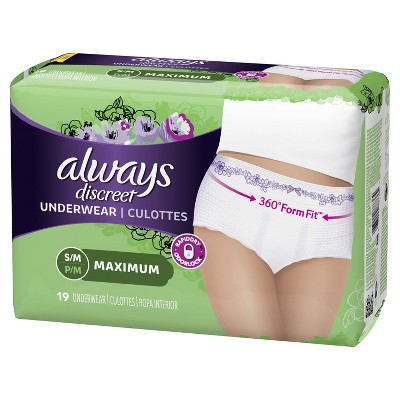 Always Discreet Incontinence Underwear, Maximum Absorbency, Small/Medium
