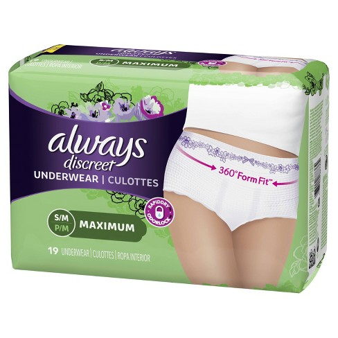 Always Discreet Incontinence & Postpartum Underwear for Women - Maximum Protection - S/M - image 1 of 4