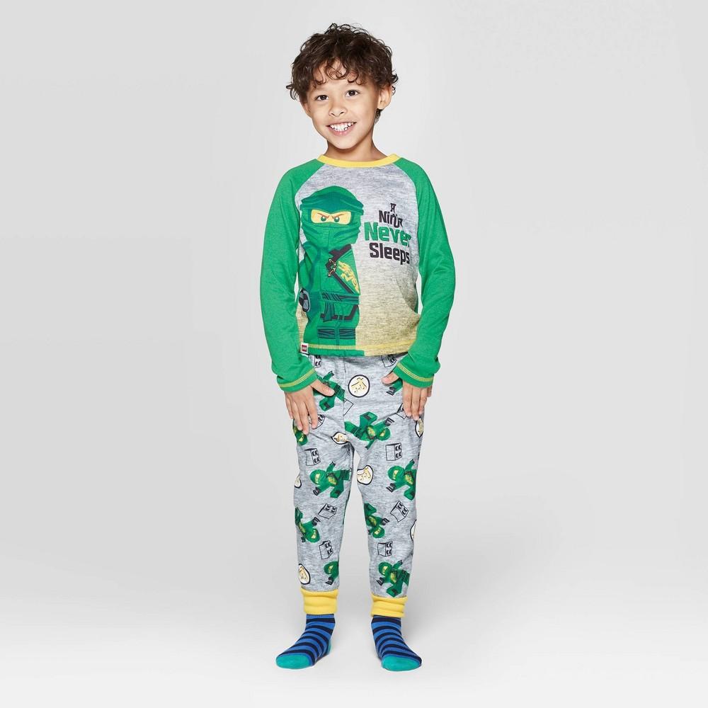 Image of Toddler Boys' 2pc LEGO Ninja Go Pajama Set - Green 2T, Boy's