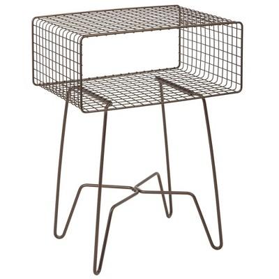 mDesign Modern Farmhouse Home Decor End Table, Wire Grid Storage Shelf