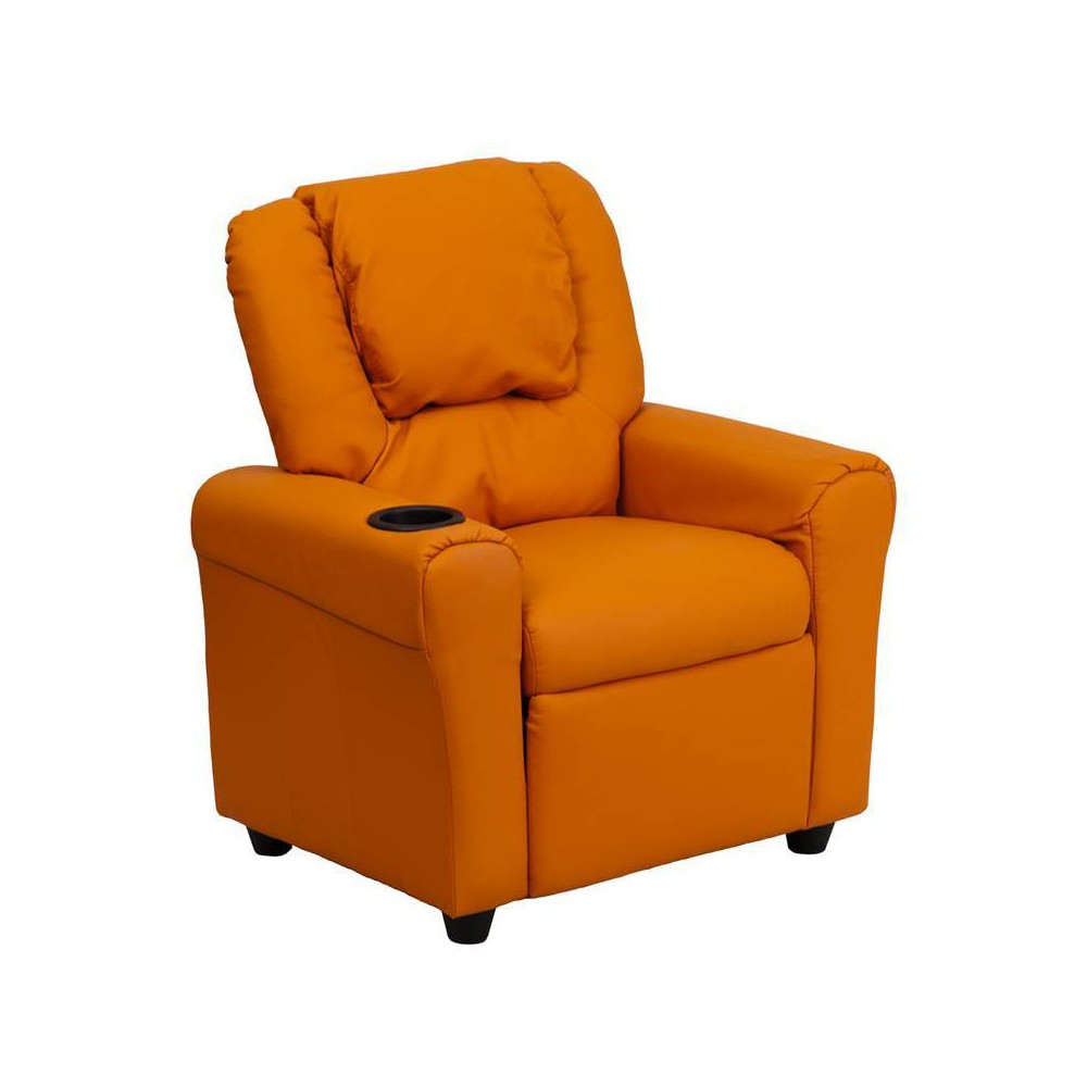 Image of Contemporary Kids Recliner with Cup Holder and Headrest Vinyl Orange - Riverstone Furniture