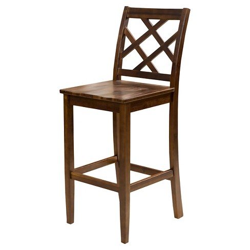 "26.25"" Naples Acacia Wood Counter Stool Brown Mahogany (Set of 2) - Christopher Knight Home - image 1 of 4"