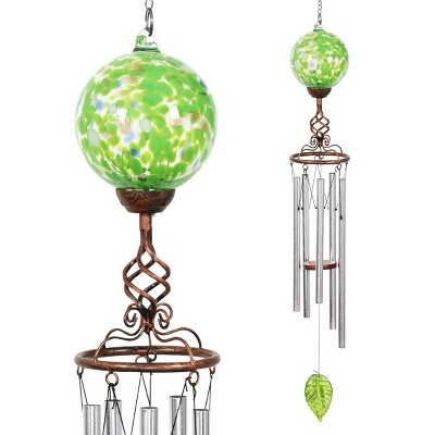 "46.25"" Solar Glass Ball Wind Chime Green - Exhart"