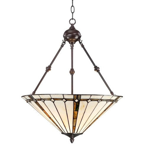 Robert Louis Tiffany Bronze Pendant Chandelier 20 Wide Tiffany Style Gold Texture Ivory Stained Glass Dining Room House Kitchen Target