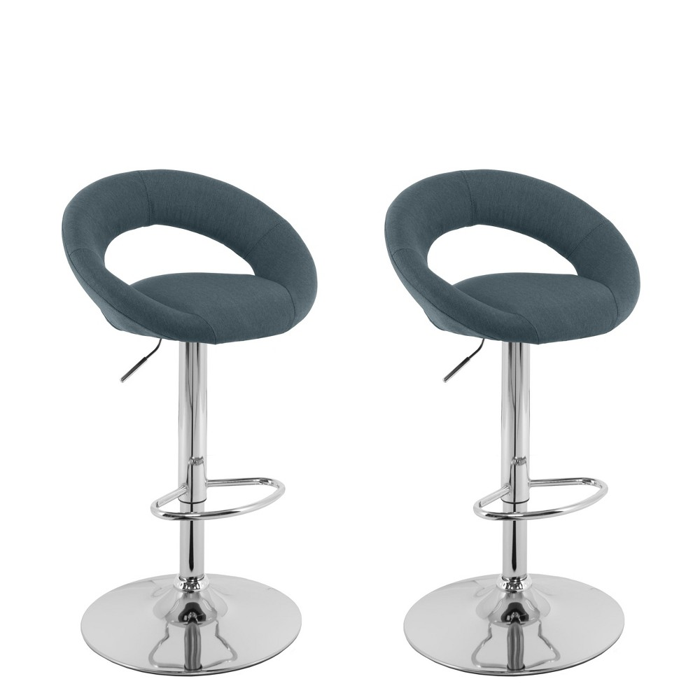 Corliving Set of 2 Round Open Back Barstool Blue Gray