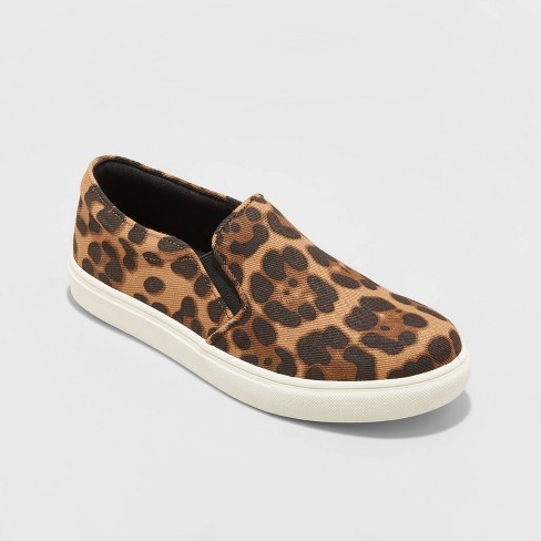Women's Reese Faux Leather Leopard Print Sneakers - A New Day™ - image 1 of 3