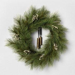 """24"""" Faux White Pine Wreath with Metal Bell - Hearth & Hand™ with Magnolia"""