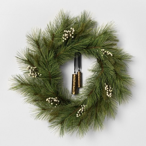 """24"""" Faux White Pine Wreath with Metal Bell - Hearth & Hand™ with Magnolia - image 1 of 3"""