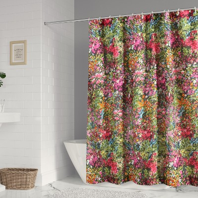 Basel Floral Lined Shower Curtain with Grommets  - Levtex Home