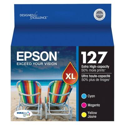 Epson 127 Single & 3pk Ink Cartridges - Black, Multicolor