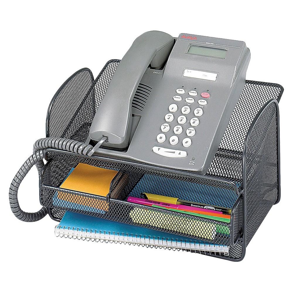 Safco Onyx Angled Mesh Steel Telephone Stand - Black