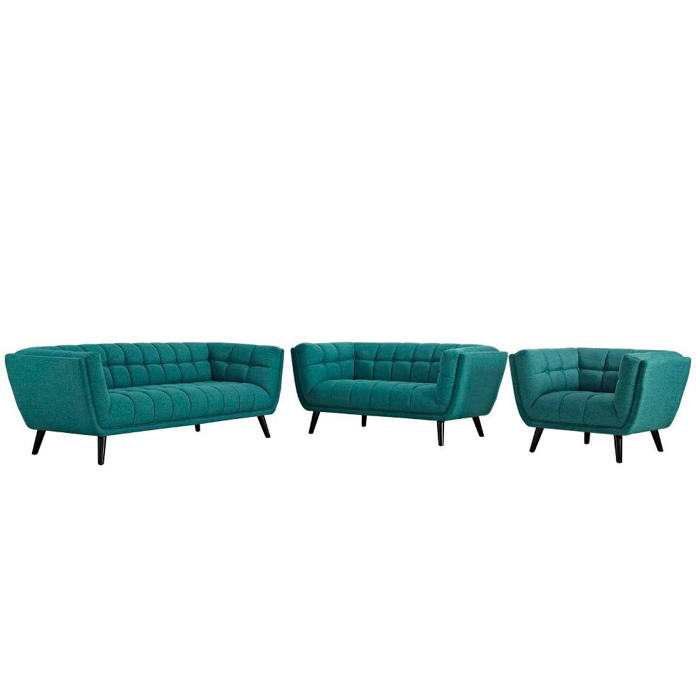 3pc Bestow Upholstered Fabric Sofa Loveseat and Armchair Set Teal (Blue) - Modway