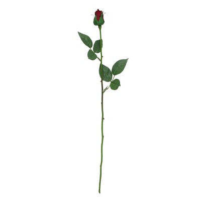 "Allstate Floral 23"" Burgundy and Green Single Stem Budding Artificial Rose Pick"