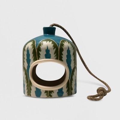 7.8  Ceramic Printed Bird Feeder Blue - Opalhouse™