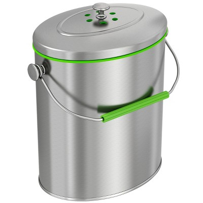 iTouchless Kitchen Compost Bin with AbsorbX Odor Filter Oval 1.6 Gallon Silver Stainless Steel