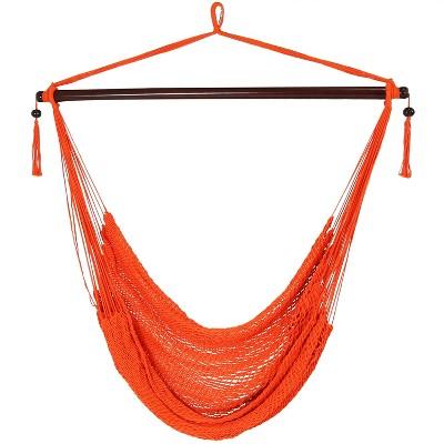 Hanging Caribbean XL Hammock Chair - Salmon - Sunnydaze Decor