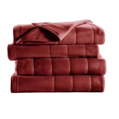 Sunbeam Fleece Heated Full Blanket in Garnet - image 1 of 4