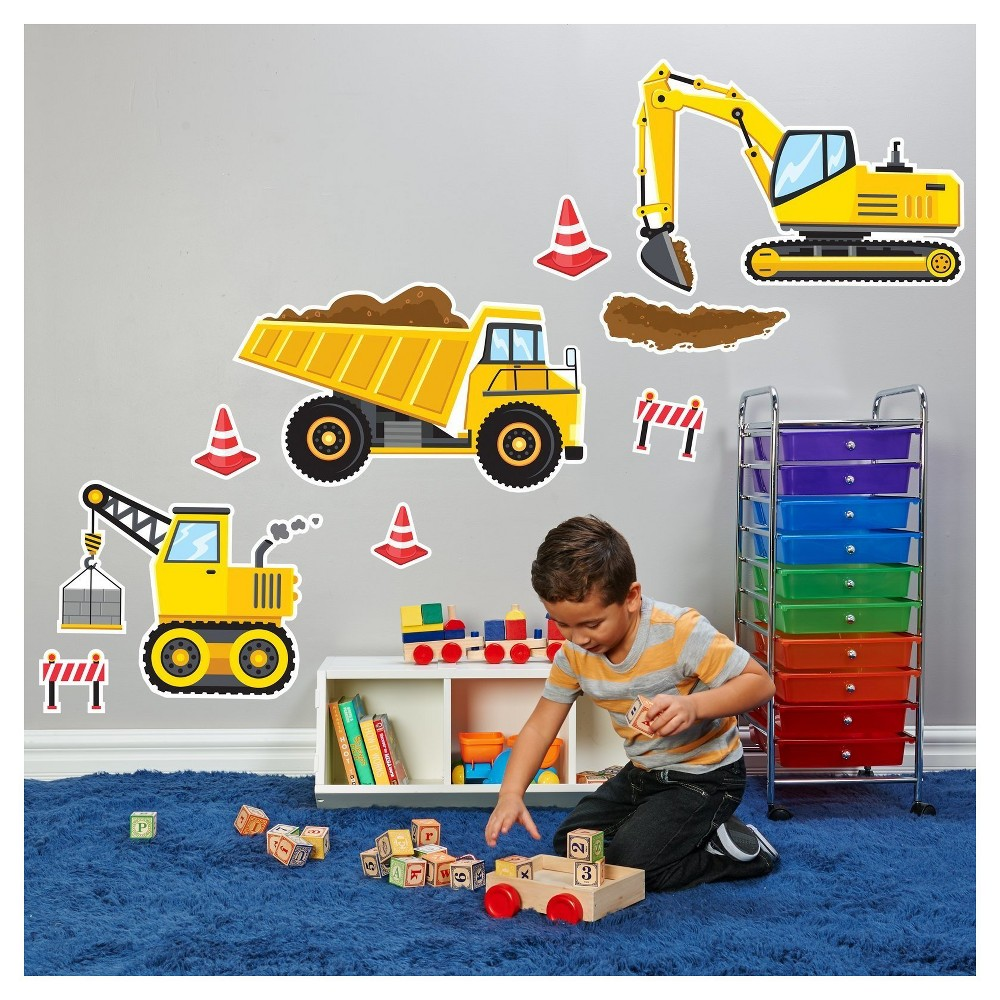 Image of Construction Party Giant Wall Decal, Yellow
