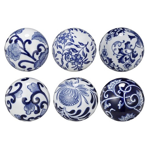 Set Of 6 Round Decorative Ceramic Balls Blue Target
