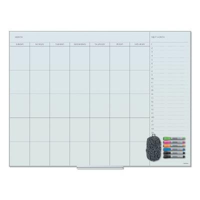U Brands Floating Glass Dry Erase Undated One Month Calendar, 48 x 36, White 3969U0001