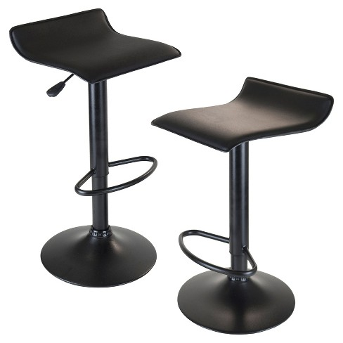 Obsidian Set of 2 Adjustable Swivel Air Lift Stool, Backless,  Pvc Seat,  Metal Post and Base - Black - Winsome - image 1 of 1