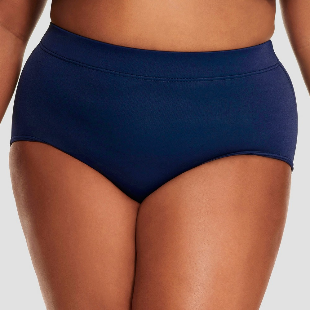 Women's Slimming Control High Waist Bikini Bottom - Dreamsuit by Miracle Brands Navy 16W, Blue