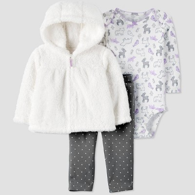 Baby Girls' 3pc Sherpa Cardigan,Bodysuit Top & Bottom Set - Just One You® made by carter's Cream/White/Gray 9M