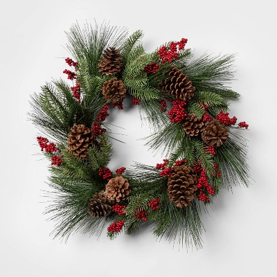 "22"" Artificial Pine Wreath with Pine Cones and Holly Berries - Threshold™"