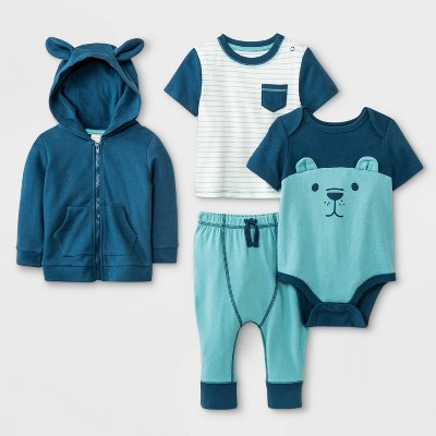 Baby Boys' Hoodie, T-Shirt, Bodysuit and Leggings Set - Cat & Jack™ Blue/Green/White 6-9M