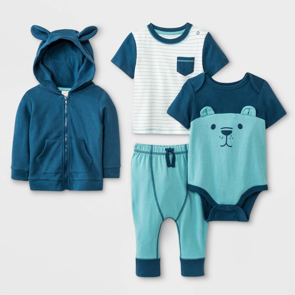 Baby Boys' Hoodie, T-Shirt, Bodysuit and Leggings Set - Cat & Jack Blue/Green/White 24M