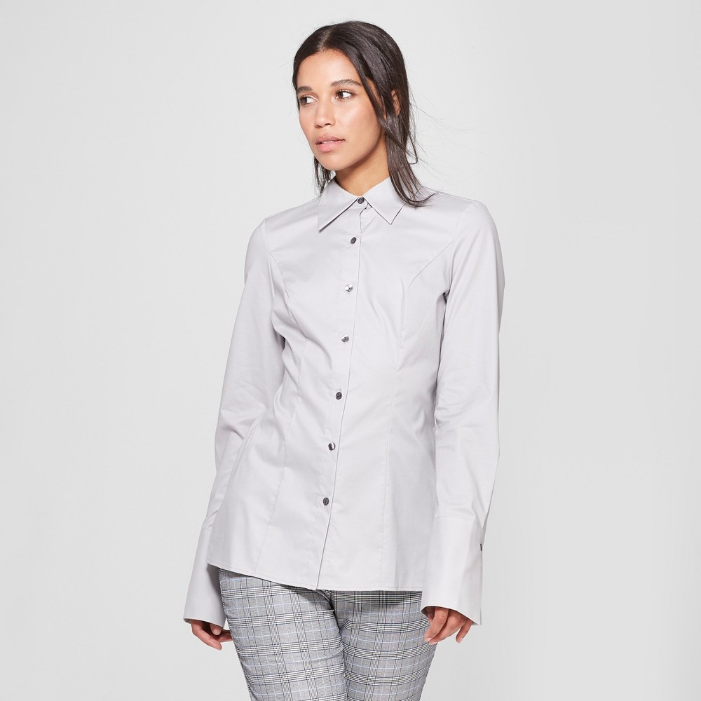 Women's Long Sleeve Fitted Button-Down Collared Shirt - Prologue Gray M
