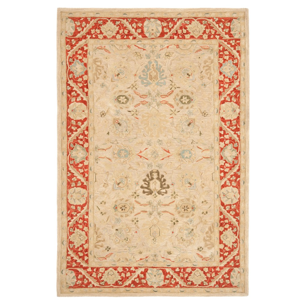 Taupe/Red Floral Tufted Area Rug 6'X9' - Safavieh, Taupenred