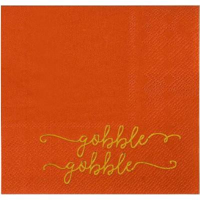 Blue Panda 50-Pack Gobble in Metallic Gold Foil Orange Thanksgiving Disposable Paper Cocktail Party Napkins