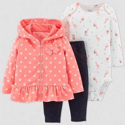 Baby Girls' 3pc Dot Cardigan Set - Just One You® made by carter's Coral 3M