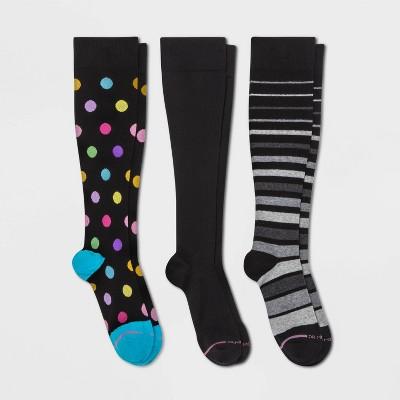 Dr. Motion Women's Mild Compression 3pk Knee High Socks - Black/Gray Stripes/Dots