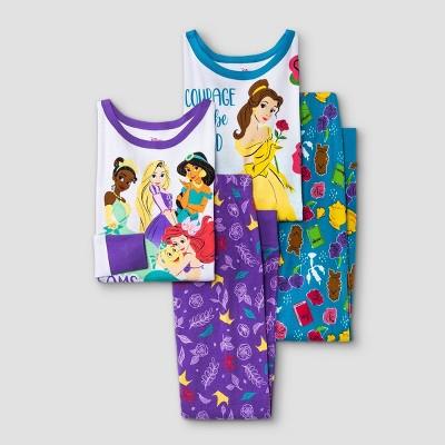 Girls' Disney Princess 4pc Pajama Set - Purple/Blue
