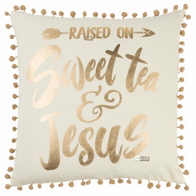 Simply Southern Word Throw Pillow Gold - Rizzy Home