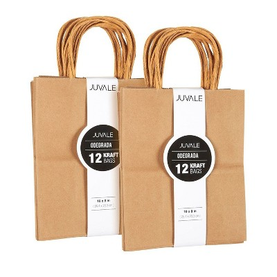 Juvale Medium Kraft Paper Gift Bags with Handles (Brown, (Brown, 8 x 10 Inches, 24 Count)